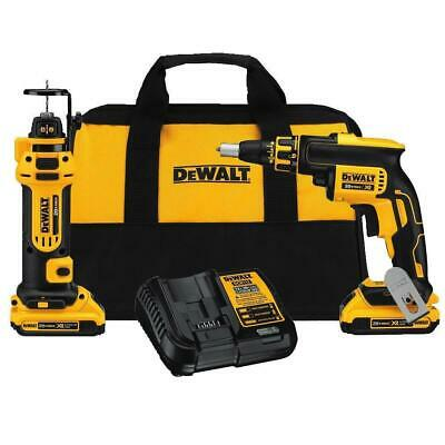 DeWALT DCK263D2 20-Volt MAX 1/4-Inch Brushless Screwgun and Cut-Out Tool Combo