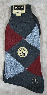 Mens Vintage Argyle Gray & Burgundy Combed Cotton Socks Size 13 NWT