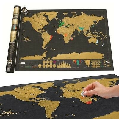 New Deluxe Travel Edition Scratch Off World Map Poster Personalized Journal Log