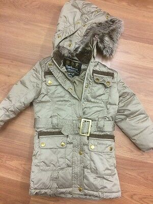 Barbour Girls Quilted Goose down Coat Age 2-3 100% Genuine Was £199
