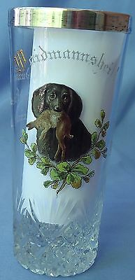 """Antique German Wire Long Haired Dachshund W Rabbit Hunt Glass 6"""""""