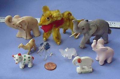 9 dollhouse miniatures ANTIQUE CIRCUS TOY  ELEPHANT GERMANY MURANO BOSSE BEAR