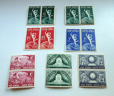1949 South Africa Stamps Blocks Of Two Mint, Unhinged, Still Gummed