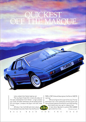 Lotus Esprit Turbo Hc Retro A3 Poster Print From Classic 80's Advert