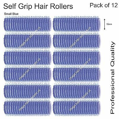 Soft Self Grip Cling Hair Curling Rollers SMALL BLUE 15mm Professional Pack 12