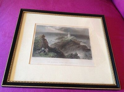 W H Bartlett Framed Picture The Mumbles Rocks And Lighthouse