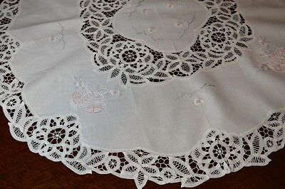 Pretty In Pink Christmas Bells & Battenburg Lace! Vtg German Round Tablecloth