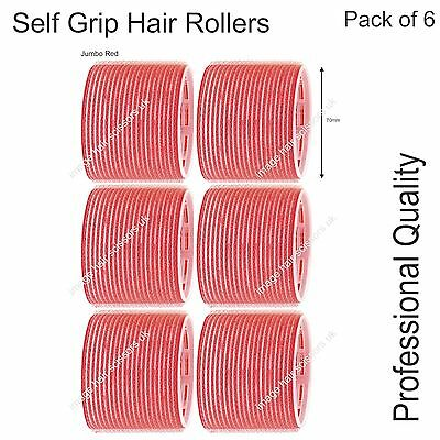 Soft Self Grip Cling Hair Curling Rollers JUMBO RED 70mm Professional Pack 6