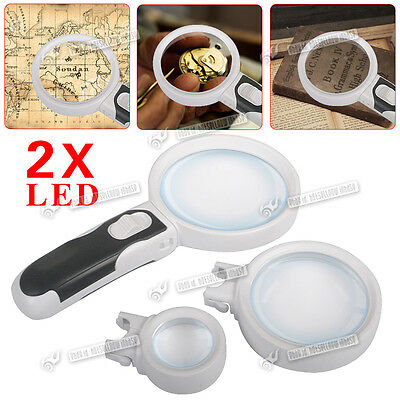 3  different lens Magnifier Reading Magnifying Glass Set 2.5X 5X 16X Light LED