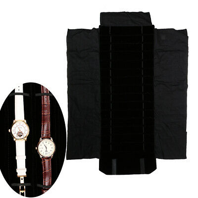 Portable Jewelry Roll Watch Travel Storage Displays Hold 15 Black Velvet
