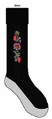 "Bonnie Doon Schuhsocken "" Embroidered Cable Shoe Socks ""  Gr. 23-24  Black  NEU"