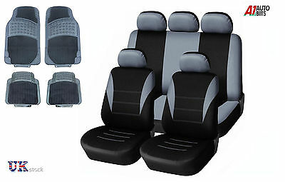 Grey Car Seat Covers & Rubber Car Mats Set For Peugeot 207 307 308 407 406 Mpv