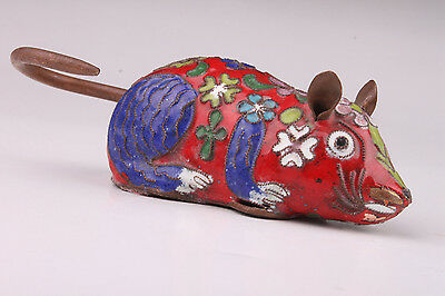 Lovely Cloisonne Statue Red Mouse Gift Ornament Vintage Collectable Old