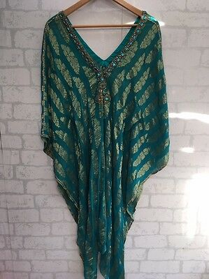 XL Jewelled Sarong Dress Shawl Teal Green Heavily Beeded African Indian <L3821
