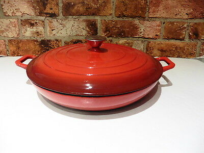 Earl & Wilson Red 30Cm Shallow Casserole Dish With Lid Perfect Cast Iron