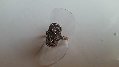 9ct rose gold and silver paste set ladies ring. size M