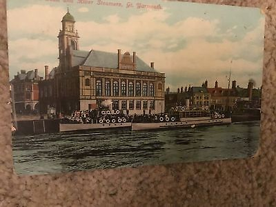 Great Yarmouth Town Hall River Steamers colour 1900s used condition