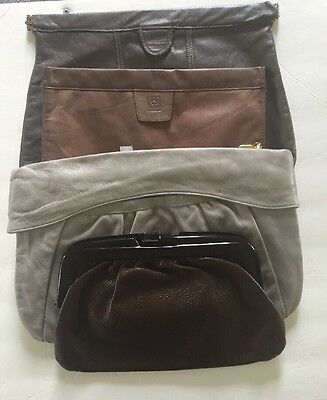 Vintage Clutch Bags Lot Of 4 Leather Brown And One Grey