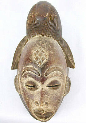 Antique PRIMITIVE Aboriginal~AFRICAN~PUNU CARVED WOOD Maiden Spirit MASK GABON!