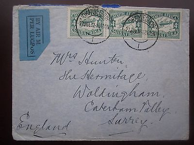 1932 SOUTH AFRICA AIRMAIL COVER with 4d STRIP of 3 to ENGLAND
