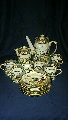 Art Deco Paragon China England Old Chinese Coffee Set. Hand Painted.