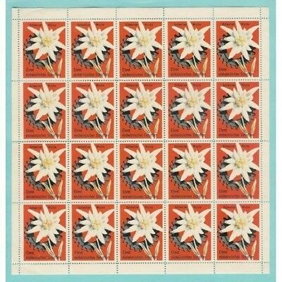 Switzerland 1954 Swiss Week Edelweiss Poster Stamps