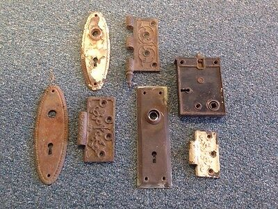 Vintage Door Hardware Victorian Plates Hinges Lot