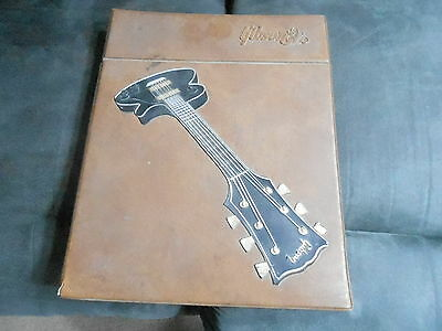 EARLY 1970s GIBSON GUITAR CATALOG in fancy leather embossed binder - oversized