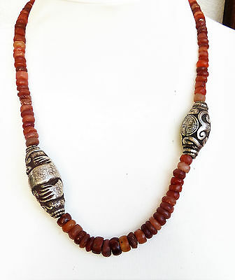 Collector's item: Necklace ancient carnelian disk beads, Mali, sterling silver