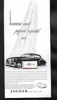 Jaguar Mark Vii Sedan For 1952 $4035 Americas Most Preferred Imported Car Ad