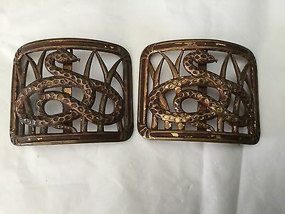 Antique French brass buckles - snake in the grass