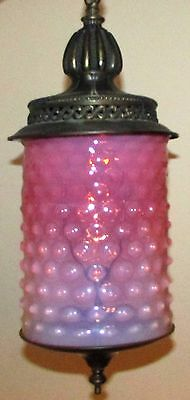 Antique Victorian Hall Library Hanging Lamp Pink Opalescent Hobnail Glass Shade