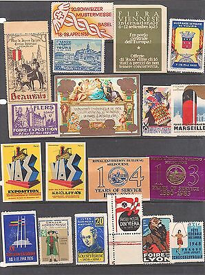 Poster Stamps, A Collection Of 19 Various Countries Exhibition  Labels