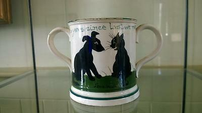 Scarce Antique Louis Wain Bristol Cat & Dog Loving Cup - Signed C 1900+