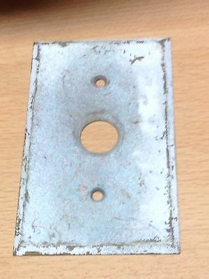 Antique Vintage Brass Usa .040 Single Push Button Switch Plate Beveled Edge Part