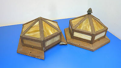 Antique Stain Glass Ceiling Fixtures,Lot of 2,1-Fixture Needs Repair See Picture