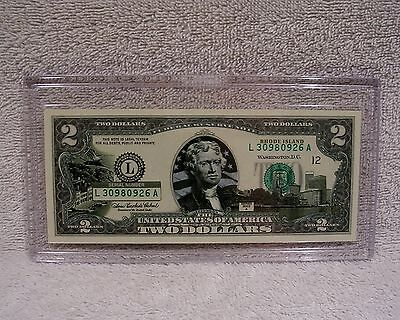 Rhode Island  $2 Two Dollar Bill Colorized State Landmark Uncirculated Authentic