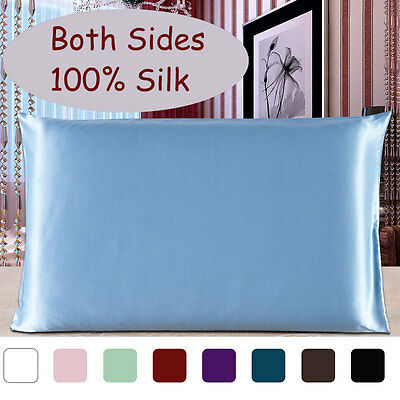 100% Pure Mulberry Silk Pillow Case Pillowcase Cover Queen Size (1-Piece)