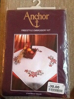 ANCHOR FREESTYLE EMBROIDERY KIT 'AUTUMN TABLECLOTH'. 80cm x 80cm.