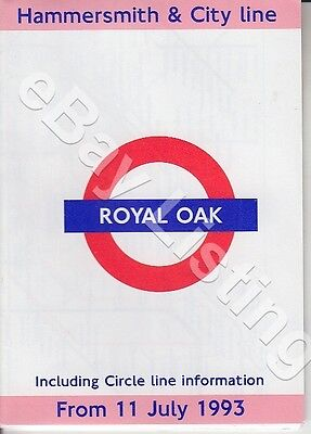 Original London Underground Wallet Size Guide For Trains From Royal Oak 1993