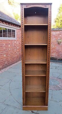 Jaycee Carved Oak Tall Open Bookcase, Autumn Gold Colour. One Of Two