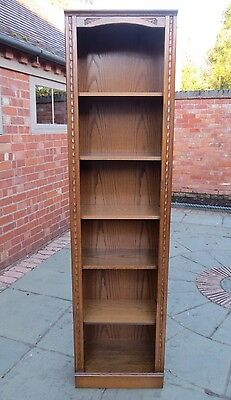 Jaycee Carved Oak Tall Open Bookcase, Autumn Gold Colour. Two Of Two