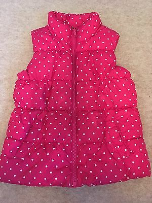 GAP Girls Padded, Fleece Lined , Pink Spotty Gilet , 5 Yrs , Excellent Condition