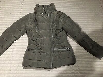 Girls Black Quilted Next Jacket Coat Winter Coat With Fold Away Hood Age 10