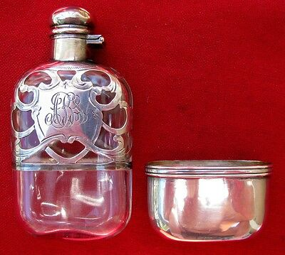 Small Fine American Marked Silver Filigreed & Engraved Pocket Flask ~ No Dents