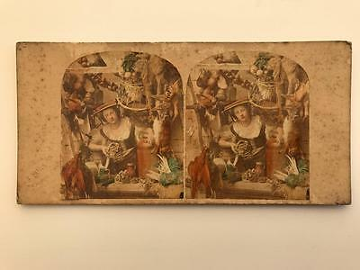 """Early Stereoview 1850s """"Nice Duck Sir"""" Woman Selling Dead Game"""