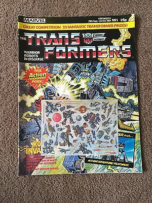 Marvel Uk Transformers Comic Issue #1 With Free Transfers