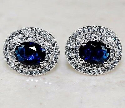 5CT Blue Sapphire & White Topaz 925 Solid Genuine Sterling Silver Earrings