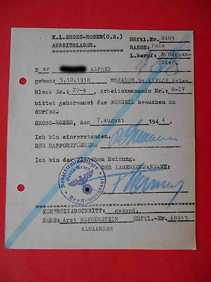 KG Lager GROSS ROSSEN 1944 Genuine Document to BORDELL.