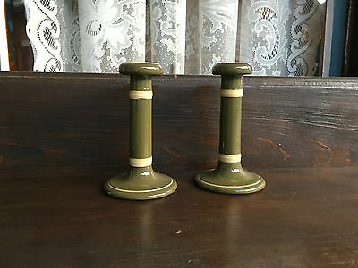 Antique Pair Of Ceramic Salesian English Green & Cream Candlesticks Early 1900's